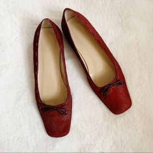 Vintage Coach Red Calf Hair Short Square Toe Heels